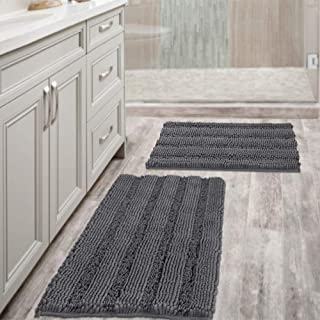 Grey Bath Mats for Bathroom Non Slip Ultra Thick and Soft Chenille Plush Striped Floor..