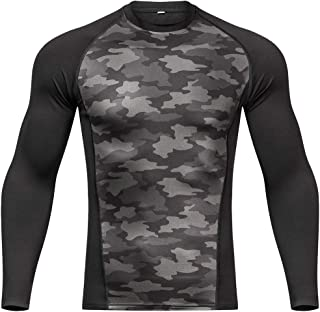 Outto Men's Thermal Underwear Base Layer Sublimated Print Midweight Warm Crew Top