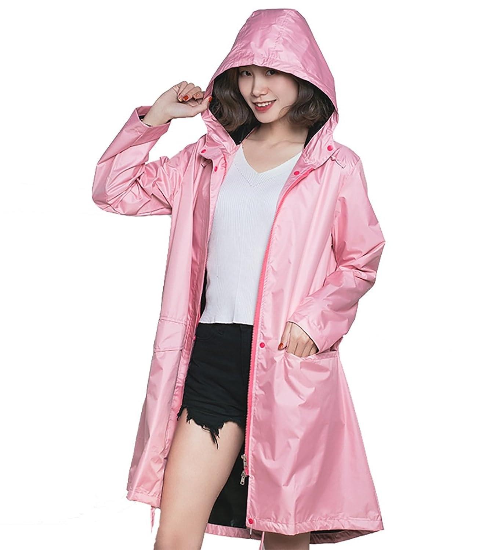 ZEMIN ポンチョ レインウェア レインコート ポンチョ ウインドブレーカー 防水 カバー グセクションファッションハイキング、2色、2サイズ (色 : Pink, サイズ さいず : XL)