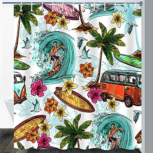Cortina Duchapara Surf, Playa, California, Retro, Vintage, Hippie, clásico, autobús, Tabla de Surf, Vacaciones, Hawaiano, Planta Tropical, árbol de Coco, Juego de Cortina de baño con 12 Ganchos,