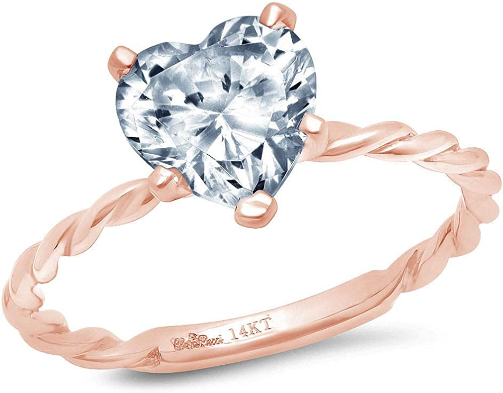 1.9ct Brilliant Heart Cut Solitaire Rope Twisted Knot Designer Genuine Natural Sky Blue Aquamarine VVS1 5-Prong Engagement Wedding Bridal Promise Anniversary Ring Solid 14k Pink Rose Gold for Women