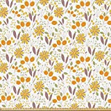 ABAKUHAUS Blumen Stoff als Meterware, Herbst Feld Laub,