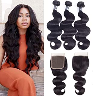 Amella Hair Brazilian Body Wave Hair Bundles with Closure(14 16 18+12 Free Part),8A 100% Unprocessed Brazilian Virgin Body Wave Hair Weave with 4x4 Closure Remy Hair