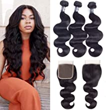 Amella Hair Brazilian Body Wave with Closure (12 14 16 +12Closure) 3 Bundles of Brazilian Hair with Free Part closure 8A Grade Unprocessed Human Hair Weaves Natural Black
