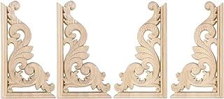 HEALLILY Wood Carved Corner Onlay Unpainted Door Applique for Home Furniture European Decorations 13x7cm 4Pcs