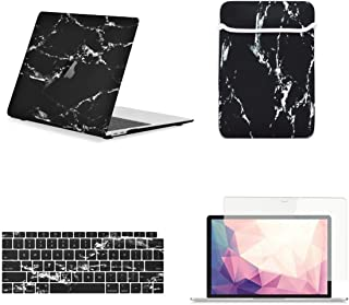 TOP CASE MacBook Air 13 Inch Case A1932 with Retina Display fits Touch ID 2019 2018 Release, 4 in 1 Essential Bundle Marble Pattern Hard Case, Keyboard Cover, Sleeve, Screen Protector - Black