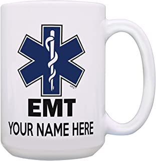Personalized EMT Mug Your Name EMT Retirement Gifts for Women First Responder Supplies Personalized Gift 15-oz Coffee Mug Tea Cup 15 oz White