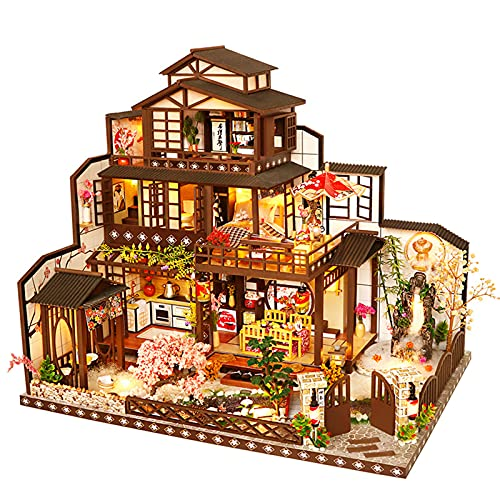 LWZ Cabaña de Madera Hecha a Mano Modelo arquitectónico Antigua Capital Mochizuki