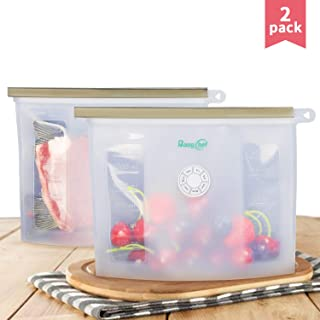 Reusable Silicone Food Storage Bags, 2 Pack Ziplock Leak Proof Food Preservation Bags for Sandwich, Snack, Freezer Airtight Seal, Eco-Friendly - BangChef