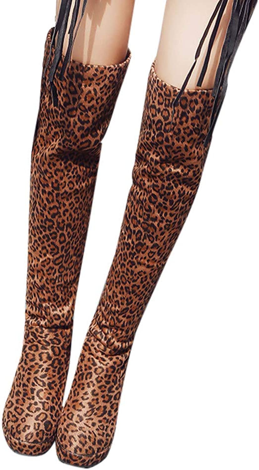 Fashion Girls Women's Thigh High Stretch Boots, Best Festive Gift Couple shoes, Big Campous, Christmas Party