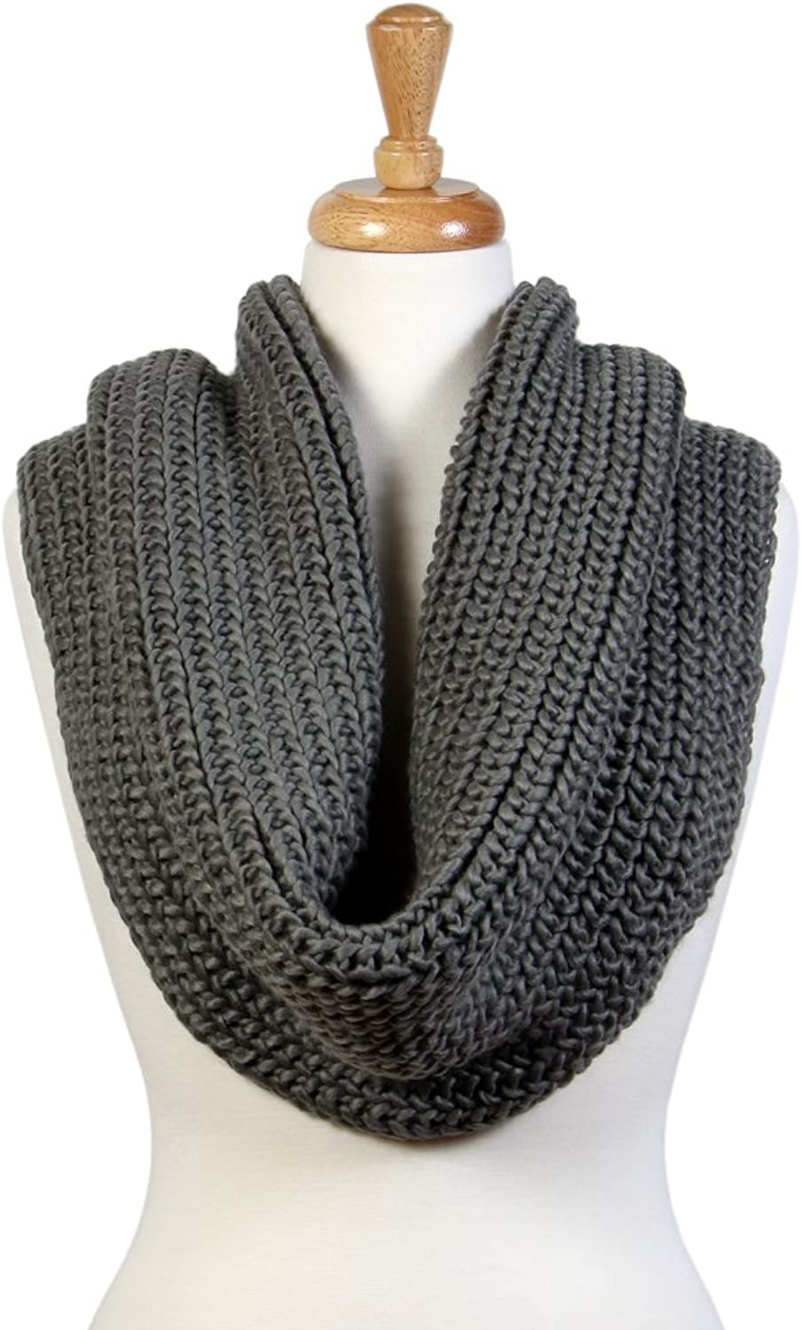 Scarfand's Solid color Elastic Knit Infinity Thick Winter Scarf Wraps