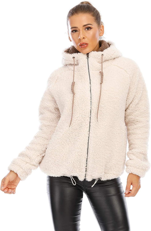 Women's New hooded sherpa jacket women Casual Winter Warm Soft Teddy Coat Zip Up Hooded Sweatshirt Jacket Coat