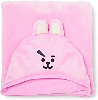 BT21 Official Merchandise by Line Friends - Cooky Character Hooded Throw Blanket for Indoor/Outdoor, Pink