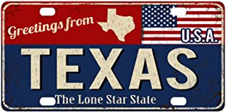INTERESTPRINT Greetings from Texas Rusty Metal Sign with American Flag Metal License Plates, Car Tag Decoration for Woman Man - 12 x 6 Inch