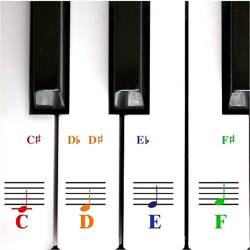 Autocollants Piano Pour Touches De Clavier 49/61/ 76/88 – Transparents Et Amovibles