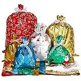 Advantez Christmas Drawstring Gift Bags, Foil Gift Bags with Ribbon Ties, 30Pcs & 4 Sizes, Xmas Gift...