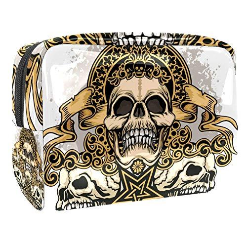 Bolsa de maquillaje, gótico escudo de armas con calavera, diseño vintage, bolsa de viaje grande, organizador de maquillaje para mujer