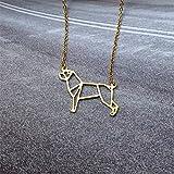 linda Mascota Origami Rottweiler Perro Colgante Gargantilla Collar Para Las Mujeres Niñas Delicado Regalo De Navidad Joyería Placa De Plata De Oro, Plateado, 45 Cm