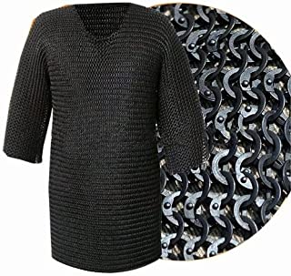 Best Brand Nasir ALI Chainmail XXXL Black Flat Riveted Long Sleeve HAUBERK Chain Mail Shirt SCA Steel