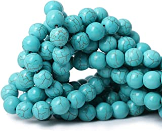 8mm Round Blue Turquoise Beads Loose Gemstone Energy Healing Beads for Jewelry Making Strand 15 Inch (47-50pcs)
