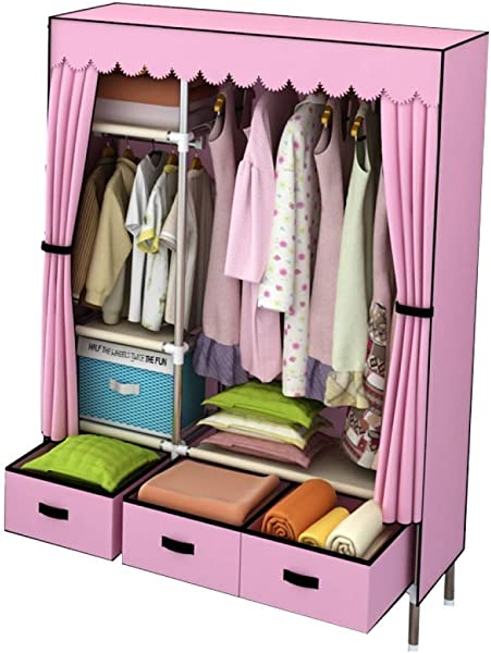 YG BY Wardrobes Fabric Wardrobe Foldable Quick And Easy To Assemble Portable Closets Wardrobe Storage For Clothes Shoes 105x45x168CM 41x18x66in Color B