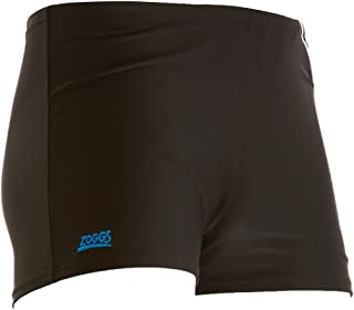 Zoggs Men's Boston Bay Hip Racer Trunks - Black/Blue, 32 Inch