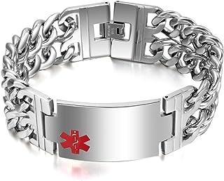 "VNOX Free Engraving-Men`s Medical Alert ID Wide Large Bracelet Stainless Steel Wrist Link Chain,8.3""/8.9"""