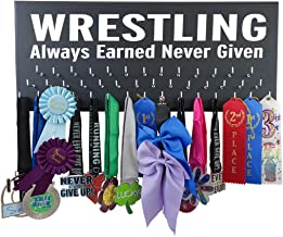 Running On The Wall Medal Awards Display - Wrestling - Always Earned Never Given - Wrestking Gift Wrestler - Wooden Plaque to Display All Wrestling Awards, Ribbons Medals