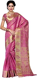 Mimosa Women's Tassar Silk Saree With Blouse Piece (178-Pink,Pink,Free Size)
