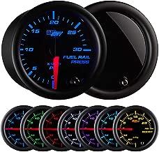 GlowShift Tinted 7 Color 30,000 PSI Fuel Rail Pressure Gauge - for 2002-2017 6.6L Chevy Duramax & 2003-2017 5.9L / 6.7L Dodge Cummins Diesel Trucks - Black Dial - Smoked Lens - 2-1/16