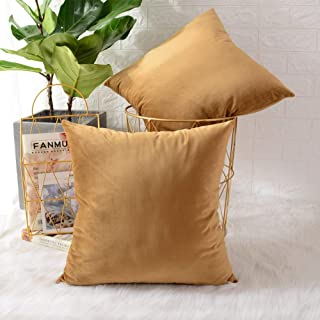 Best MERNETTE Pack of 2, Velvet Soft Decorative Square Throw Pillow Cover Cushion Covers Pillow case, Home Decor Decorations for Sofa Couch Bed Chair 18x18 Inch/45x45 cm (Gold) Review