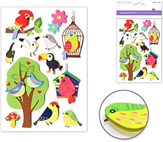 Forever In Time Animal Themed Handcrafted 3D Chipboard Sticker Sheet, 7 1/4 Inch (Bird Brain)