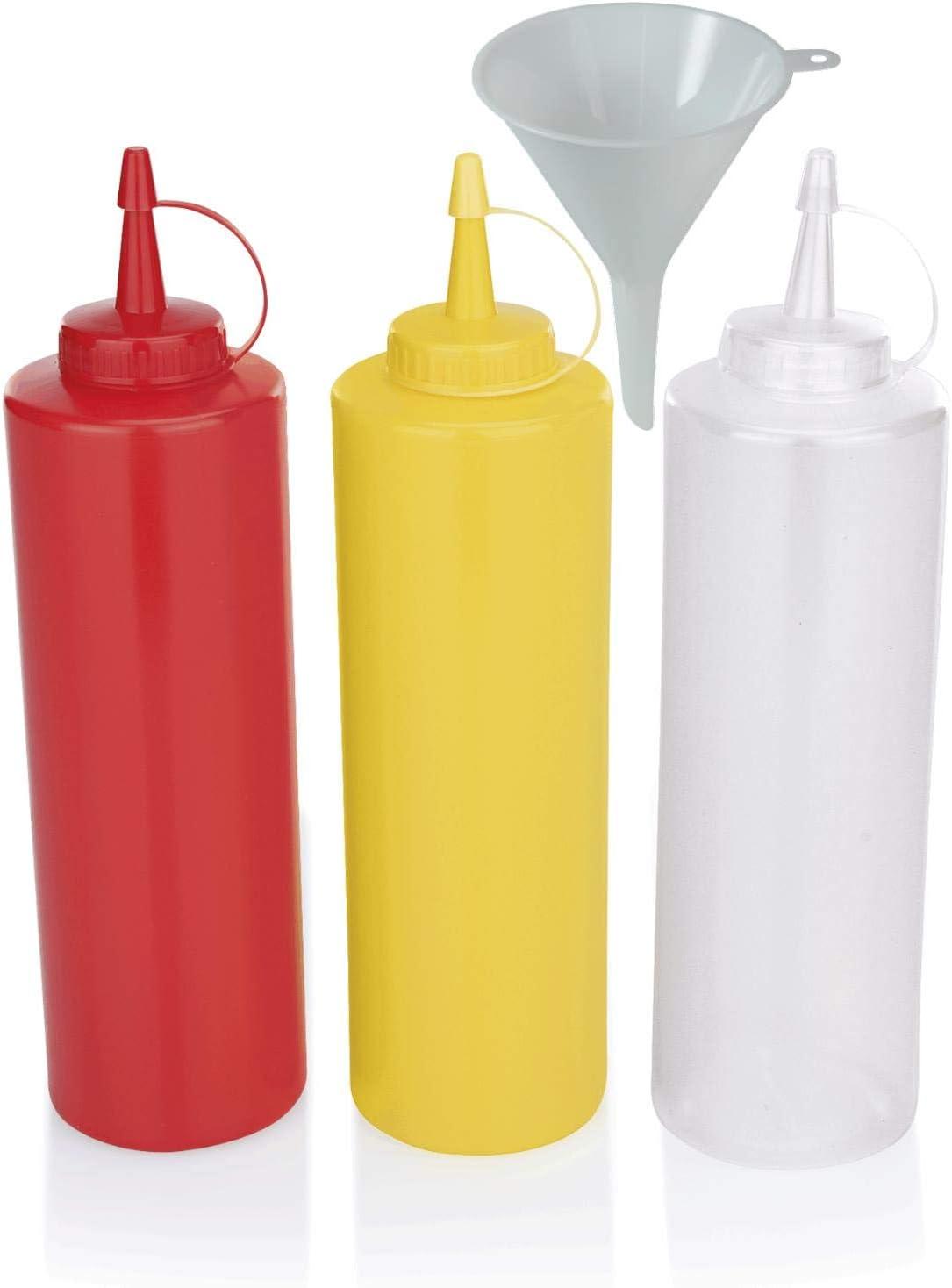 Condiment Flaschen 4pc Plastik Quetschflasche Gew/ürzflaschen-Set f/ür Home K/üche /& Restaurant /& BBQ Quetschflasche Transparent Kunststoff BPA-frei 480ml,770ml None//Brand Besylo Squeeze Flasche