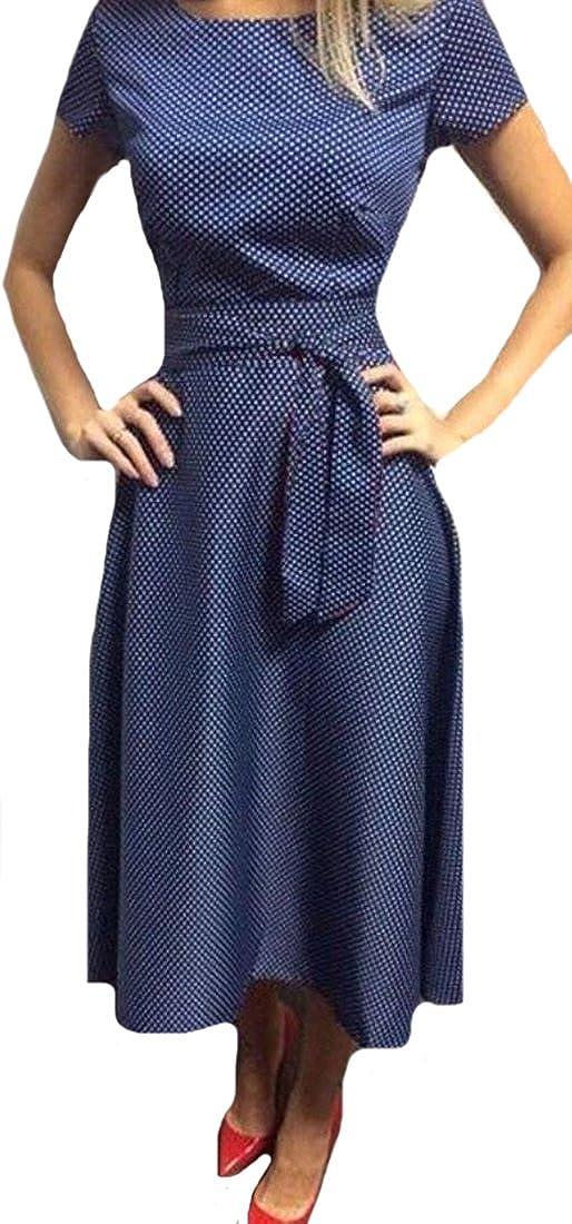 Fensajomon Womens Fashion Casual Vintage Short Sleeve Sexy Party Dress