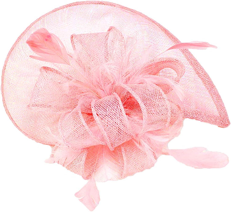 Deacroy Women's Derby Hat Elegant Vintage Flower Mesh Party Feather Fascinator