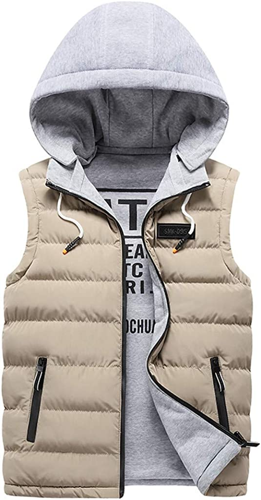 XQXCL Mens Down Jacket, Fashion Men Autum Winter Hooded Solid Outwear Vest Jacket Tops Blouse Fitted Slim Warm Coat