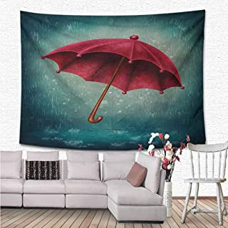 NineHuiTechnology Winter Wall Hanging Tapestries, Authentic Retro Wooden Handle Under Fall Rainfall Torrent of Rain Urban Image Art Print for Bedroom Living Room Dorm Home Décor, 70