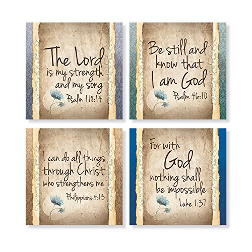 """Carson Home Accents Set of 4 Square Stoneware House Coasters, """"Have Faith"""""""