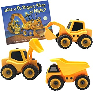 Growing Hero DIY Build It Construction Truck Toy & Where Do Diggers Sleep at Night? Board Book Set…