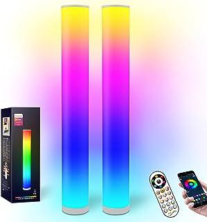 2 Lampadaires à changement de couleur RGB, Lampadaires à LED à vent moderne à commande intelligente, 16 millions de couleu...