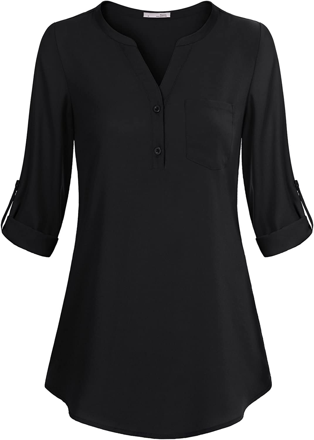 Messic Women's V-Neck Blouses 3/4 Roll-up Sleeve Button Casual Chiffon Tunic Shirt