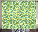 ABAKUHAUS Melone Rustikaler Gardine, Abstrakt Halbierte Wassermelonen, Schlafzimmer Kräuselband Vorhang mit Schlaufen und Haken, 280 x 260 cm, Mustard Kadett-Blau Pastellgrün und Weiß