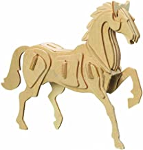 Dlong 3D DIY Assembly Construction Jigsaw Puzzle Handmade Educational Woodcraft Lovely Horse Steed Wood Model Kit for Adult Children