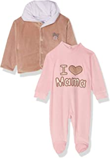 Papillon Two-Tone Stitched Detail Long Sleeves Bodysuit with Snap Closure Jacket for Girls 0-3 months