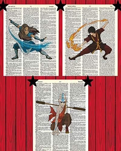 Avatar The Last Airbender Anime Wanddekoration Set von (3) Katara Zuko Aang Avatar Wörterbuch Kunstdrucke