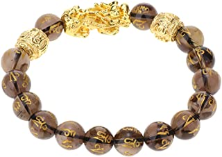 F Fityle Feng Shui Porsperity Hand Carved Bead Bracelet with Pi Xiu Attract Wealth