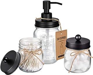 SheeChung Mason Jar Bathroom Accessories Set - Includes Liquid Hand Soap Dispenser and Qtip Holder Set - Rustic Farmhouse ...