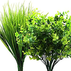 16 Pieces Artificial Fake Plants UV Resistant Plastic Plants Set, Include 8 Pieces Artificial Boxwood and 8 Pieces Plastic Wheat Grass for Indoor Outdoor Home Garden Decoration