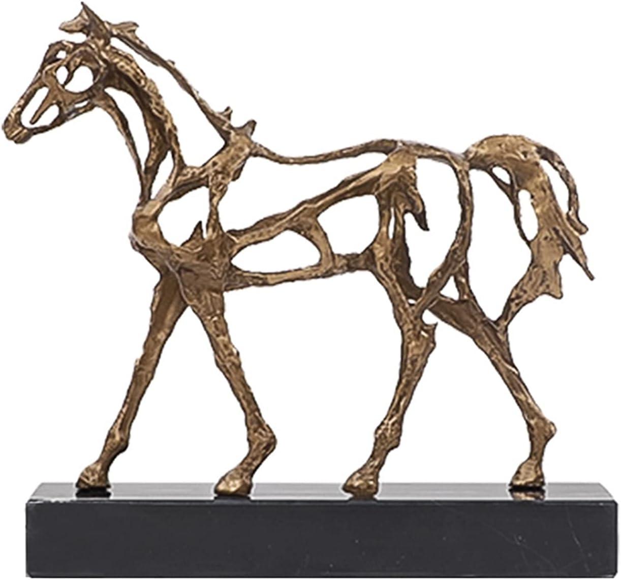 Escultura Estatua de pie caballo de latón hueco hacia fuera escultura de caballos animal decoración del hogar moderno metal caballo estatuilla para el hogar estantería de oficina estantería □ decoraci