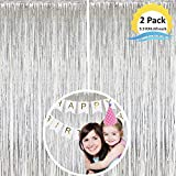 Moohome 2 Pack Silver Foil Fringe Curtain, Fringe Backdrop Curtains for Birthday Wedding Engagement Bridal Shower Baby Shower Bachelorette Party Decorations